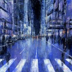 NYC Nights  original Landscape interior painting - Contemporary Art
