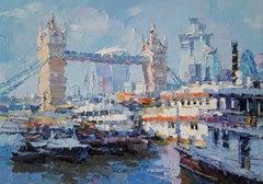 Tower Bridge London city landscape painting Contemporary Art 21st Century