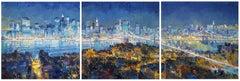 Night Perl abstract NY city landscape painting Contemporary Art 21St Century
