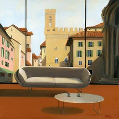 Tea time in Florence original city landscape interior  painting contemporary art