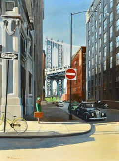 ONE WAY Brooklyn, NY original  CITY  landscape painting Contemporary Realism