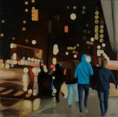 A dream that Night original figurative CITY landscape painting Contemporary Art