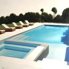 Sunny Pool original city landscape interior  painting contemporary art