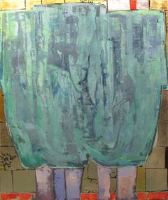 Silver Willows original abstract forest landscape painting Contemporary Art 21st
