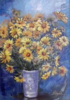 Yellow bouquet  original still life painting