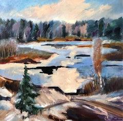 Winter Lake  original landscape painting