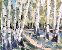 Spring Birch II original landscape painting