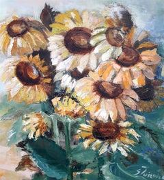 Sunflowers original still life painting