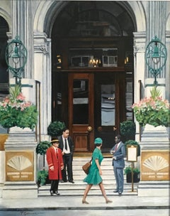 MANDARIN ORIENTAL HOTEL Hyde Park, London original  CITY  landscape painting