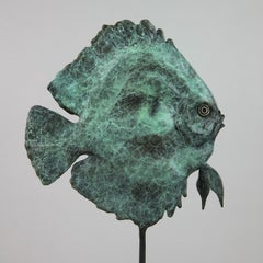 Discus Fish Male Blue bronze sculpture- limited edition- Modern- Contemporary