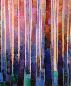 Evening Light-original abstract forest landscape painting Contemporary Art 21st