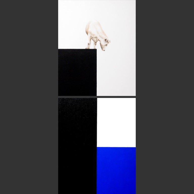 I See Blue Sea Cow White still life-oil painting 21st Century-contemporary reali For Sale 1