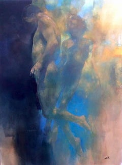 Breaking Through - original floating figurative painting contemporary art 21st C