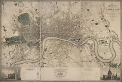Christopher Greenwood, Map of London, engraving, linen in 3 parts, 1827