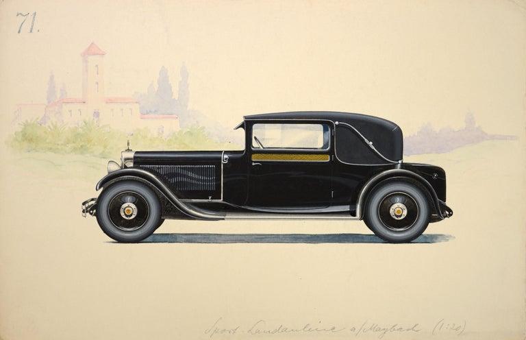 Sport Landauline coachwork design by Alexis Kellner AG for the Maybach Type 12. - Art by HERSCHU (Herbert SCHULTZ)