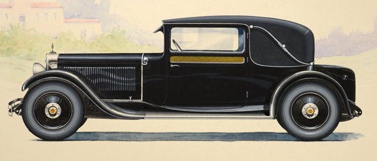 Sport Landauline coachwork design by Alexis Kellner AG for the Maybach Type 12. - Beige Figurative Art by HERSCHU (Herbert SCHULTZ)