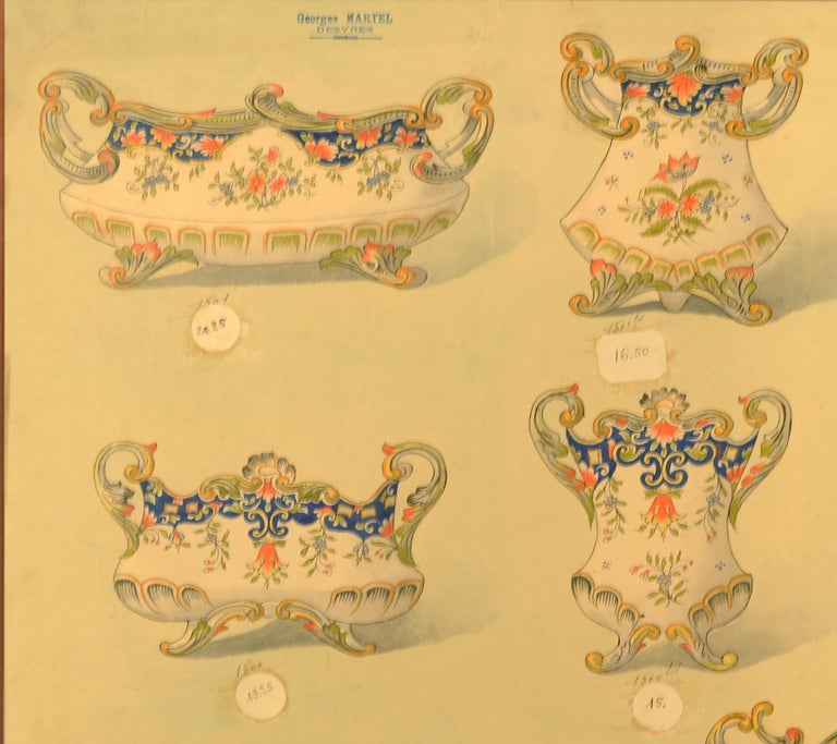 Two sheets (47 x 63 cm.) depicting porcelain services  in watercolour on an egg-shell blue background (linen-backed), each sheet showing up to nine designs, each sheet with the stamp of Georges Martel, the designs captioned in ink manuscript with