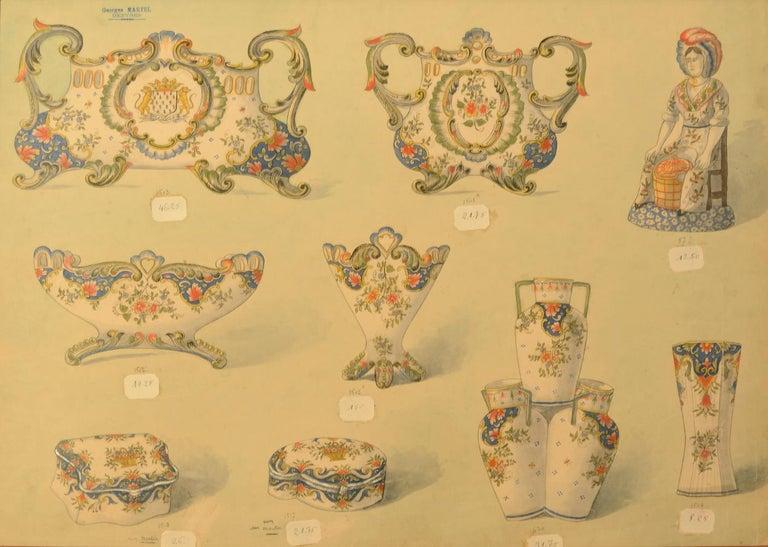 Geroges Martel, Desvres Porcelain designs, 1900 For Sale 1
