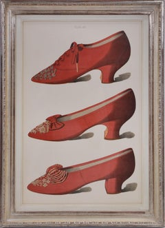 A Group of Four Ladies' Dress Shoes of the Nineteenth Century. (red and white)