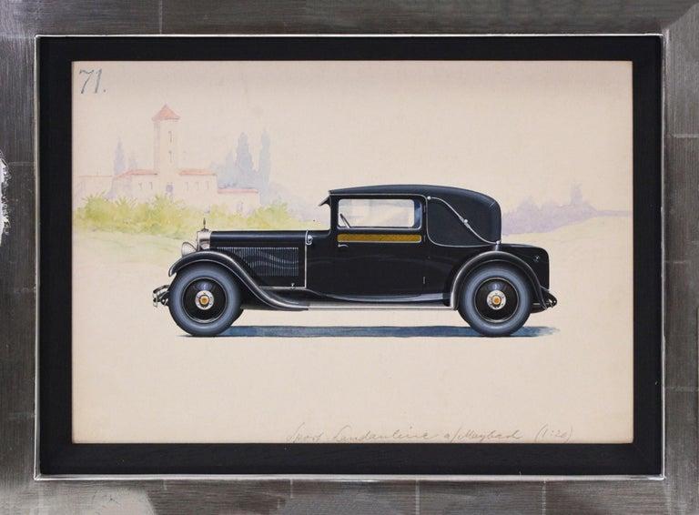 HERSCHU (Herbert SCHULTZ) Figurative Art - Sport Landauline coachwork design by Alexis Kellner AG for the Maybach Type 12.