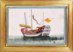 Chinese Export Watercolours on Pith Paper, set of twelve Junks and Barges