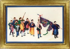 Chinese Export Watercolours on Pith Paper, set of twelve Processions.
