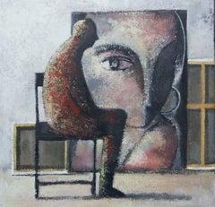 """EL GALERISTA"" - original surrealist oil canvas painting"