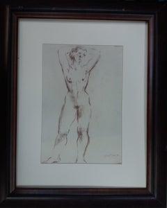 FEMALE NUDE. ORIGINAL. INK.