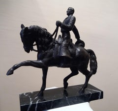 HORSE AND RIDER bronze sculpture classic