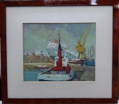Puerto de Barcelona. original acrylic wod painting