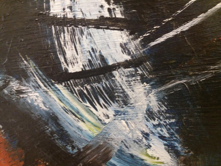 color III- original abstract acrylic canvas paiting - Black Abstract Painting by JORDI MERCADÉ