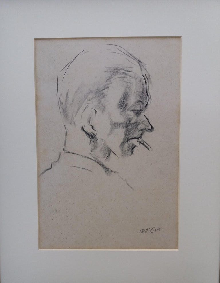 Man. original figurative academician drawing painting - Academic Painting by A. COSTA