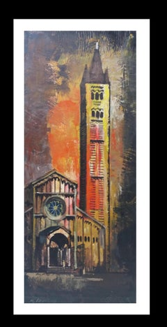 Basilica original meoimpressionist acrylic painting