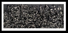 personajes II. original lithograph abstract painting