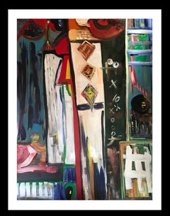 Factory of cometas- original abstract expressionist mixed media acrylic painting