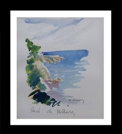 Costa de Mallorca original watercolor painting