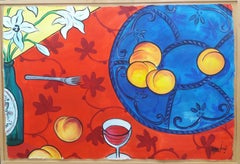 Table original expressionist acrylic paper painting 2008