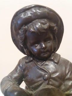Child and conch shell. Original multiple bronze sculpture