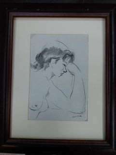 woman. original figurative academician drawing painting