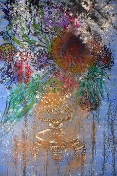 VASE OF FLOWERS.original contemporary mixed media painting