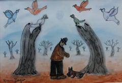 WALKING THE DOG IN WINTER. original naif pastel painting