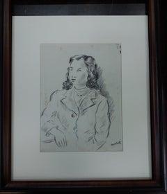 woman. original figurative academician drawing painting