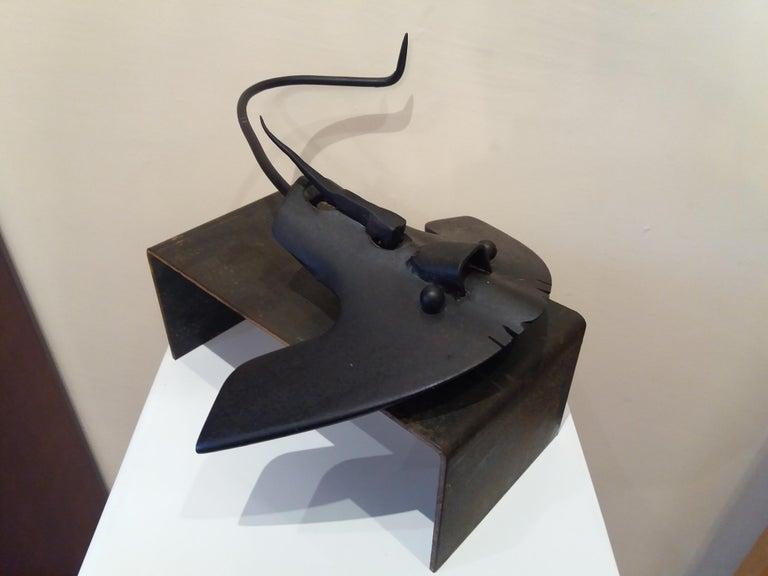 E. ALEMANY Figurative Sculpture - Pez manta Original  unic contemporary iron sculpture