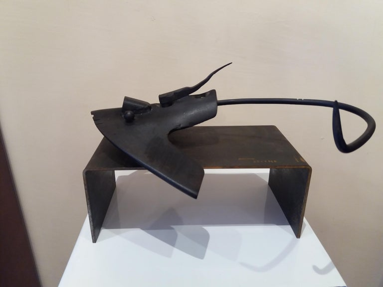 Pez manta Original  unic contemporary iron sculpture - Sculpture by E. ALEMANY