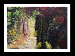 Jardin original watercolor paper expressionist painting