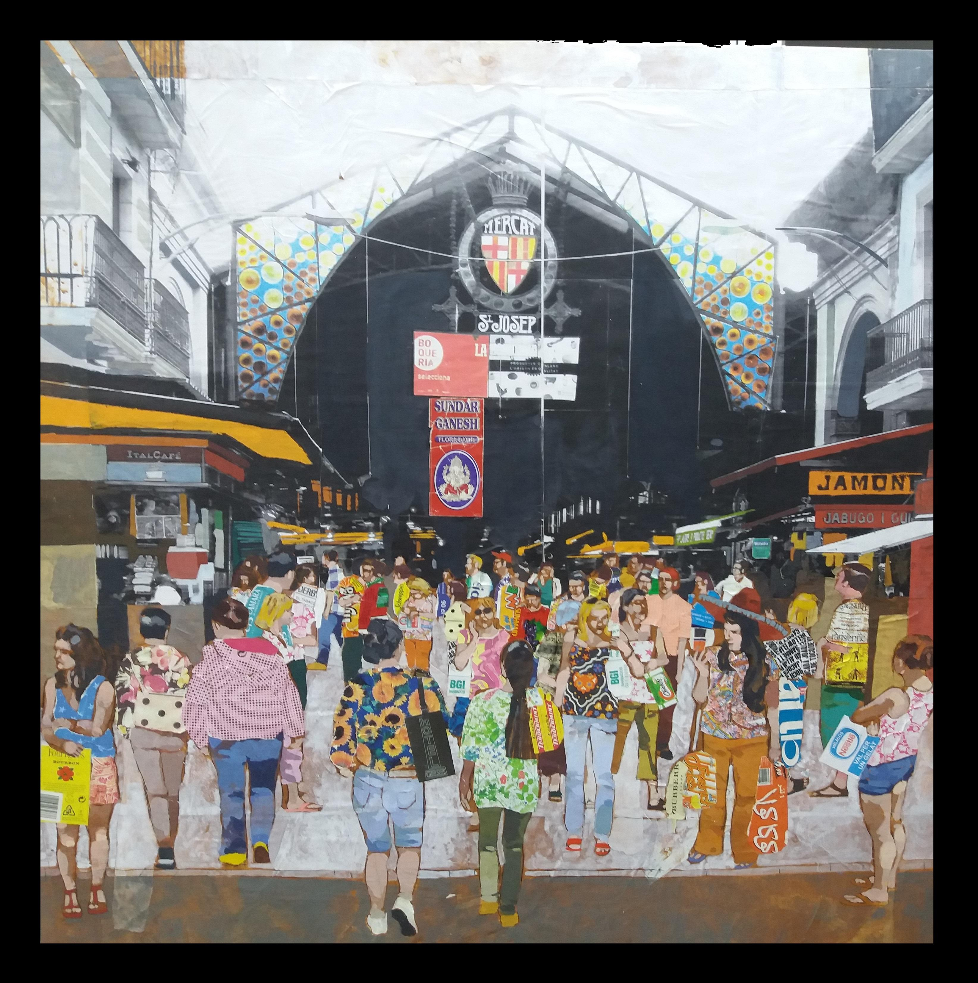 """ BOQUERIA - BARCELONA "" original mixed media painting"