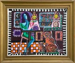 68.-Framed Woman 100 x 83 cmoriginal acrylic painting