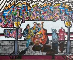 69.-Jazz group 100 x 80 cm original acrylic painting