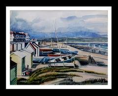 Beach of Badalona- original realist watercolor painting