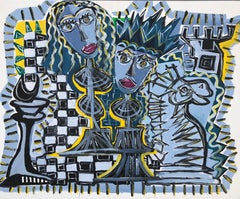 5.-Chess in blue   acrylic painting